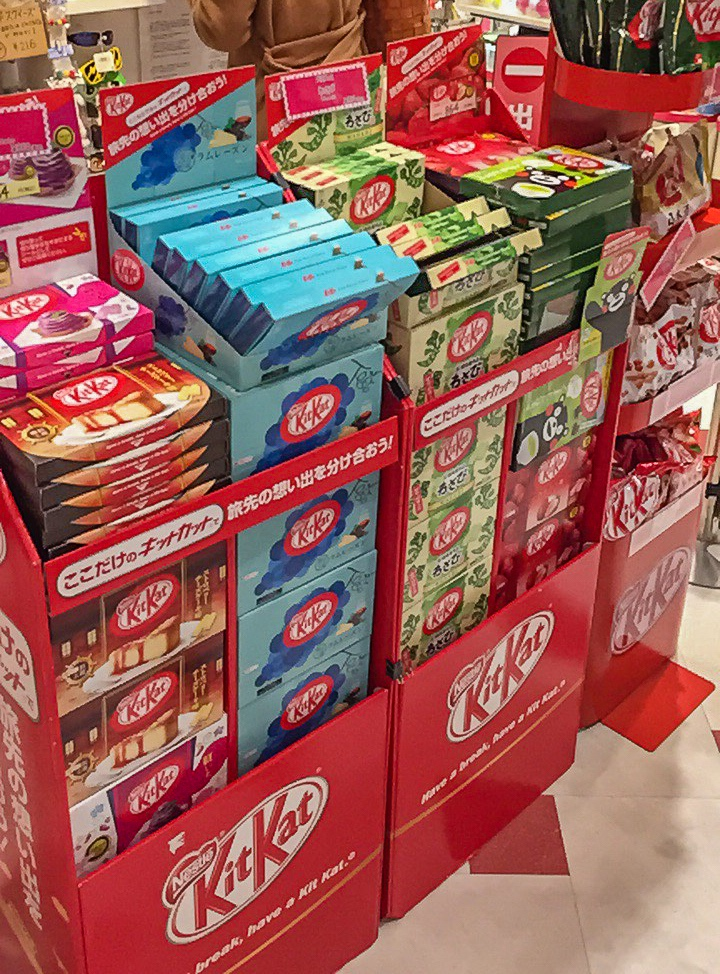 Various Kitkat flavors in Japan