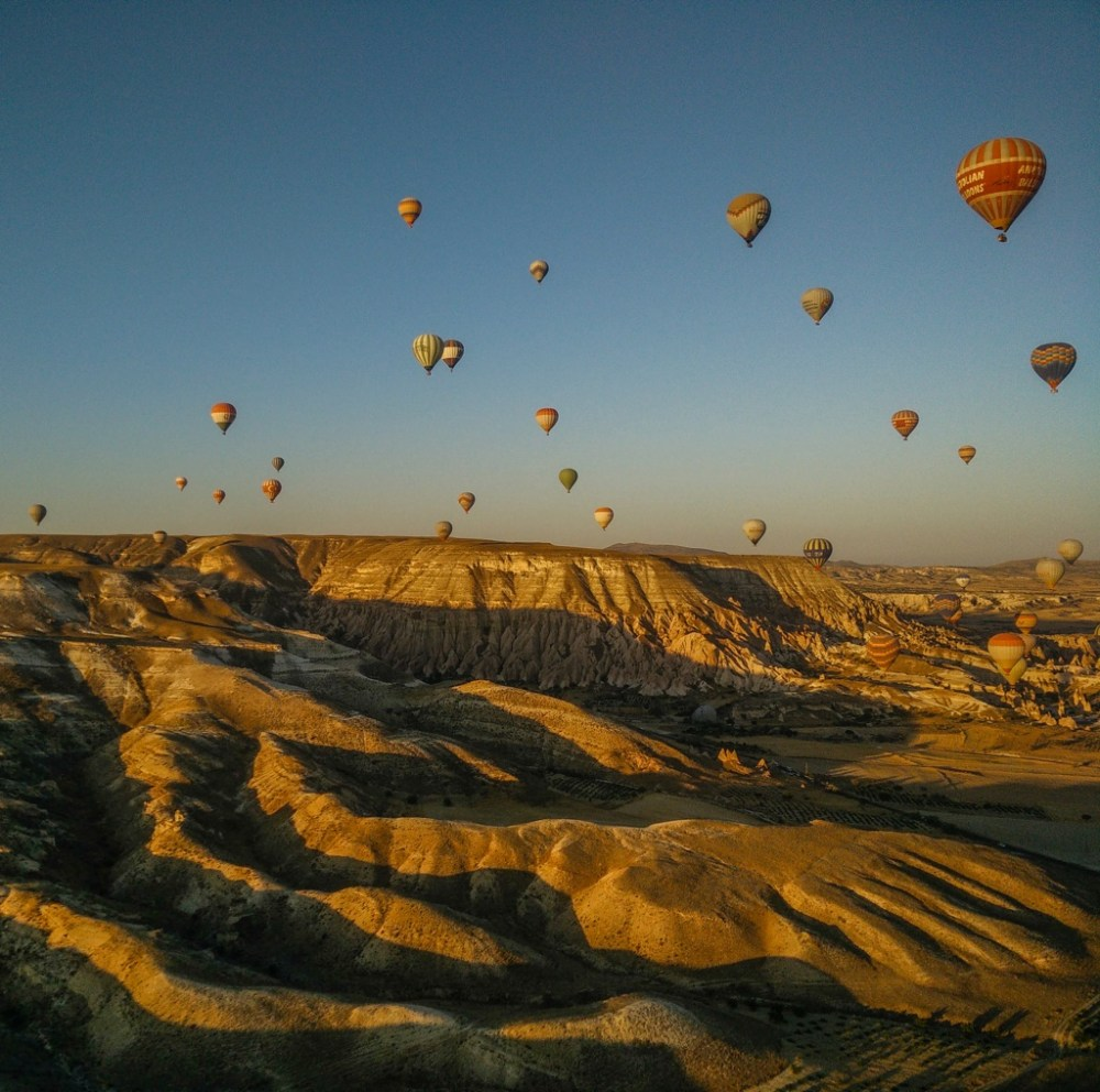 Hot air balloons over Cappadocia in Turkey