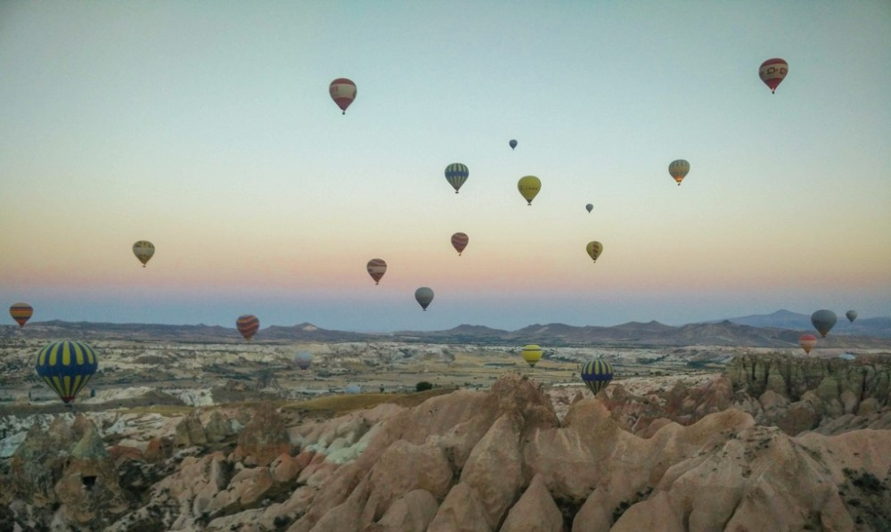 Panorama of hot air balloons in Cappadocia Turkey