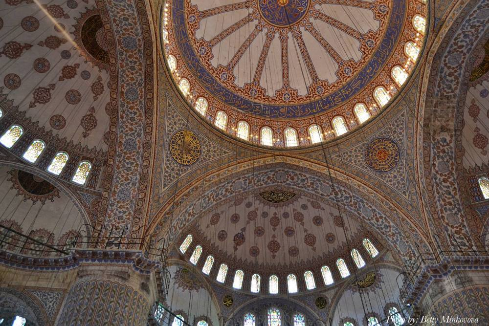 Ceilings inside the Blue Mosque in Istanbul