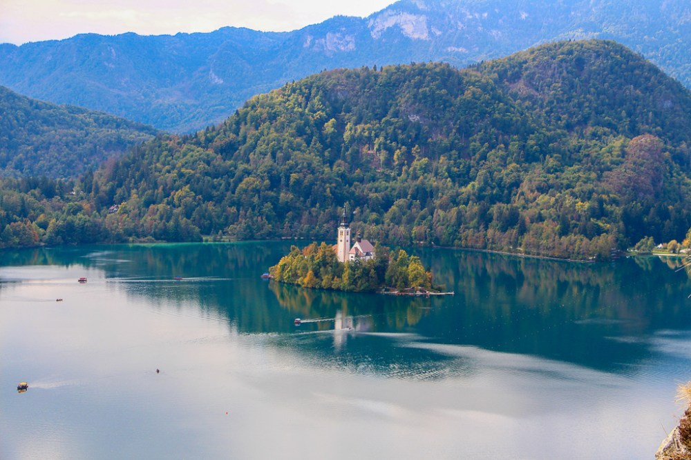 The gorgeous panoramic views of Lake Bled Slovenia