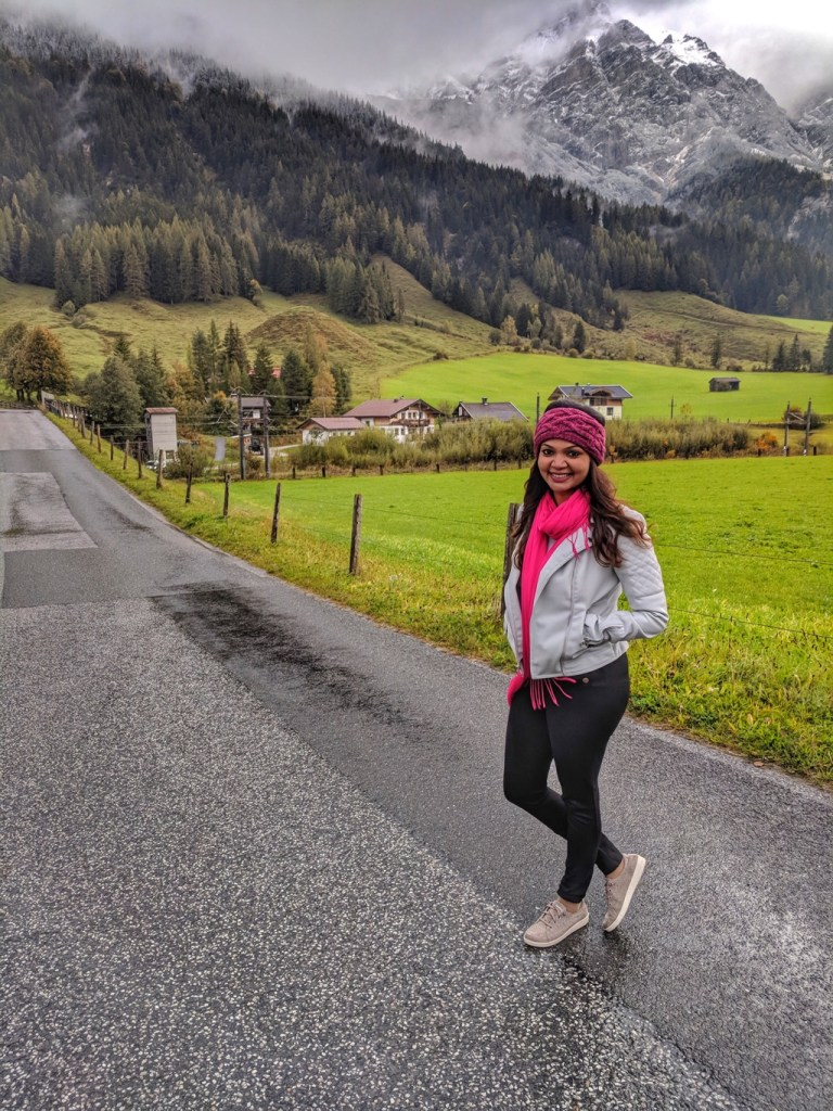 Posing against the Austrian Alps