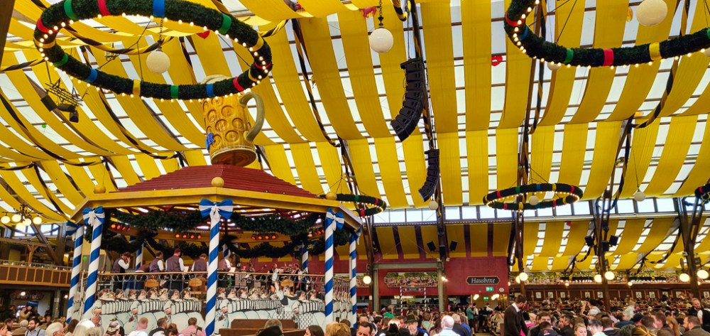 The Oktoberfest tent atmosphere in Munich