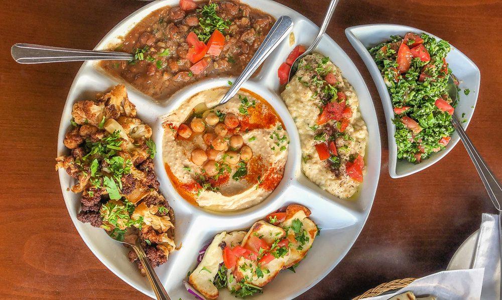 Vegetarian Middle Eastern mezze platter in San Francisco