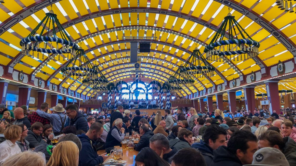The atmosphere inside an Oktoberfest tent