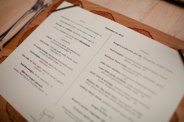 Table Menu