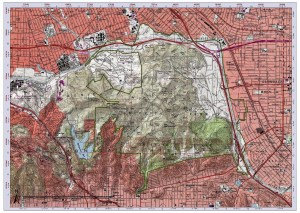 Griffith Park topographic field map with grid