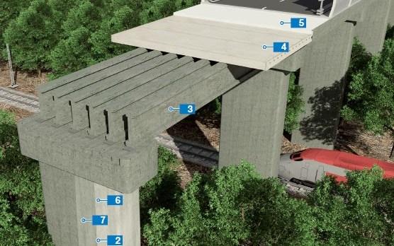 Cầu được xây dựng bằng cách đúc các cọc tại chỗ và lắp ráp các cấu kiện đúc sẵn