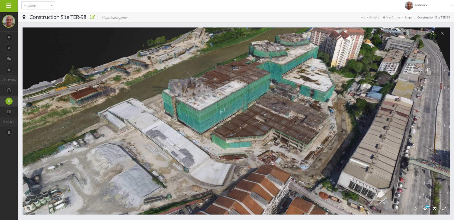 Screenshot of MapGage web dashboard showing construction site 3D model from drone images