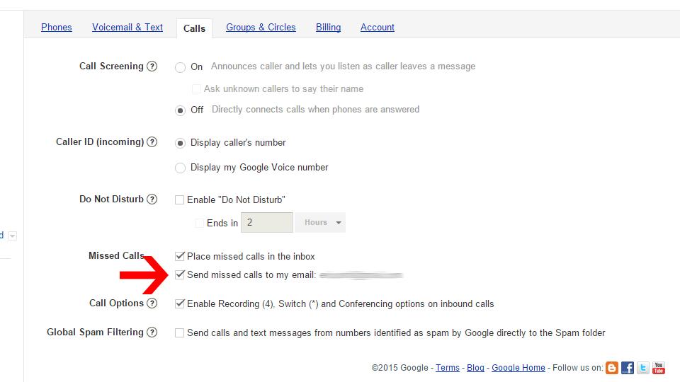 Inside Google Voice's preferences.
