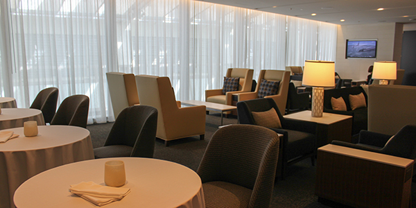 The first-class section in the lounge is actually pretty small.
