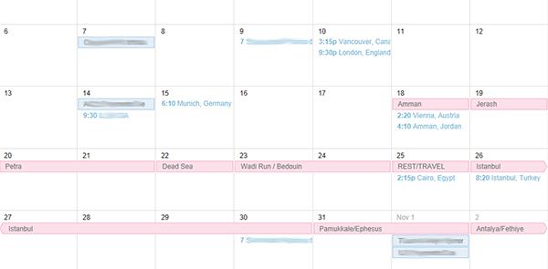 Using Google Calendar to preplan where I'm headed next.