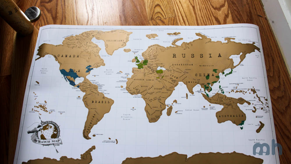Review This Scratch Map Details All The Places Youve Been - Framed scratch world map