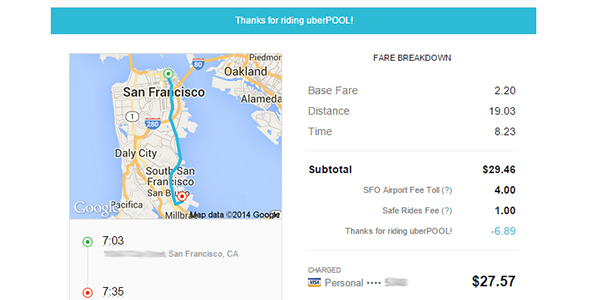 UberPool receipt for comparison.