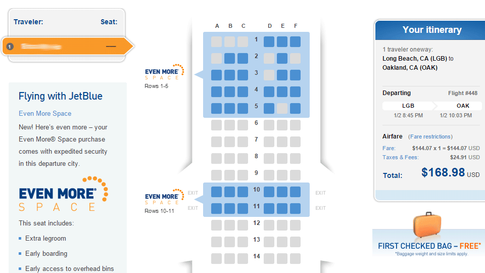 JetBlue seating. Click to see how far back I was.