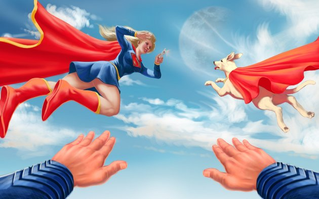 Supergirl e Krypto voando