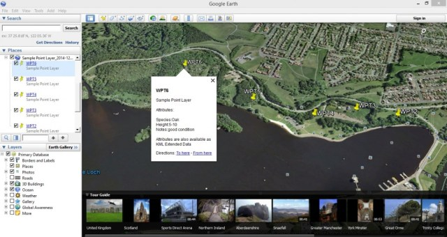 KML file opened by Google Earth Desktop