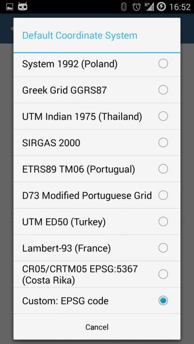 Custom EPSG code