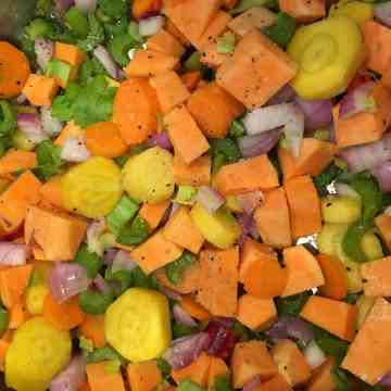diced veggies for farm share soup