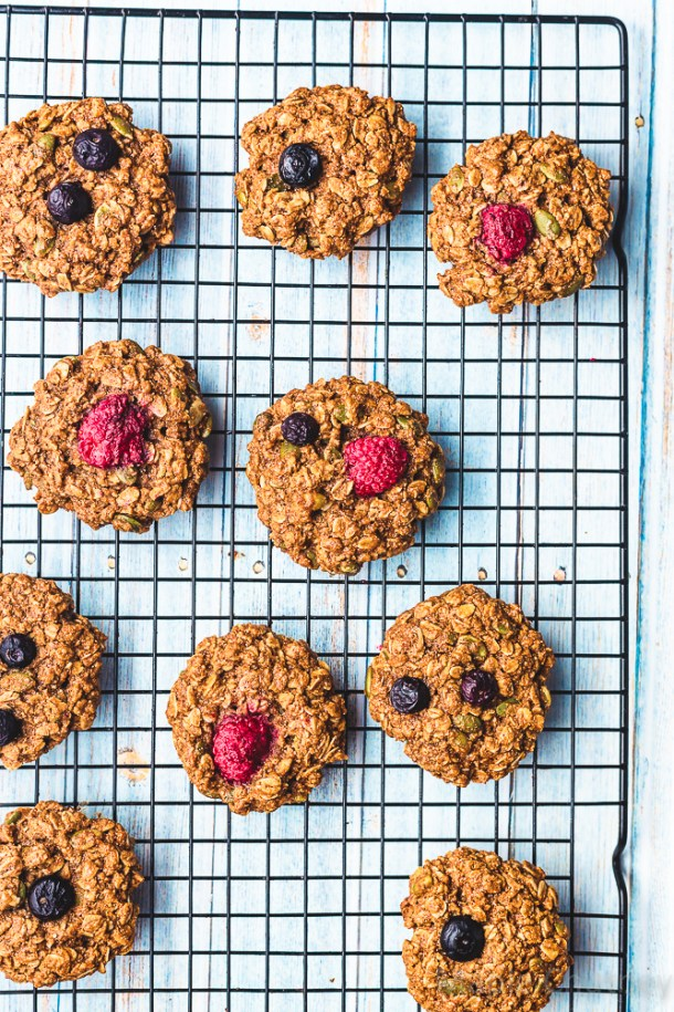 berry and oat cookies on the table