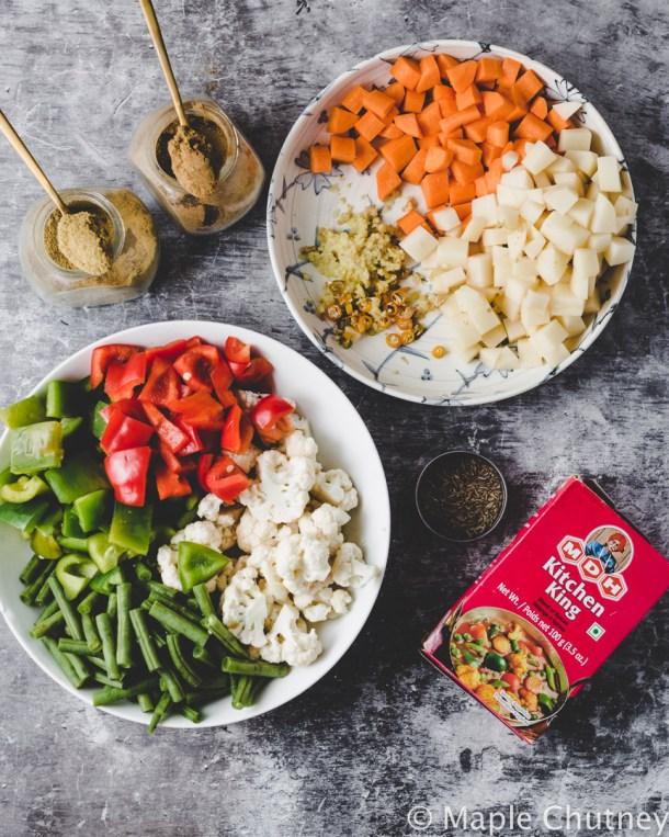 mix veg sabzi ingredients
