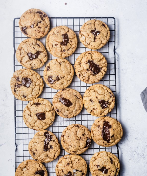 brown butter chocolate chip cookies on a tray