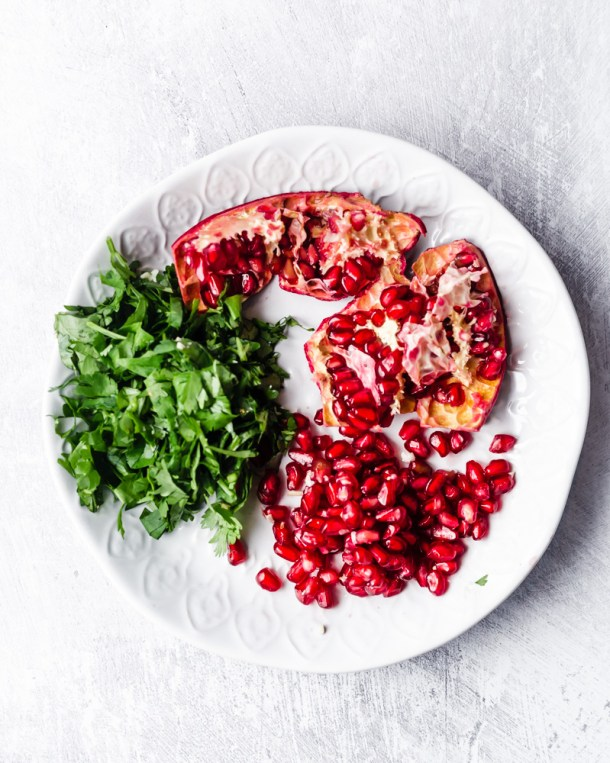 pomegranate and cilantro