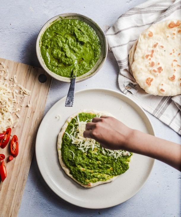 green chutney base for yogurt flat bread