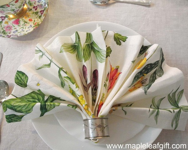 Linen Napkin Wild Flowers Easter dinner table setting