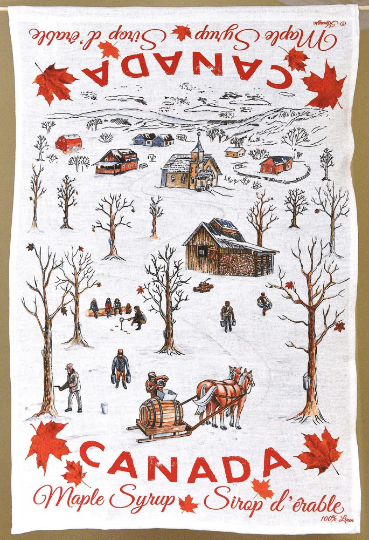 Canada Gift Linen Tea Towel Maple Syrup design rural trees horse people with buckets