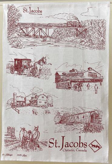 Mennonite Village St. Jacobs on Linen Tea Towel