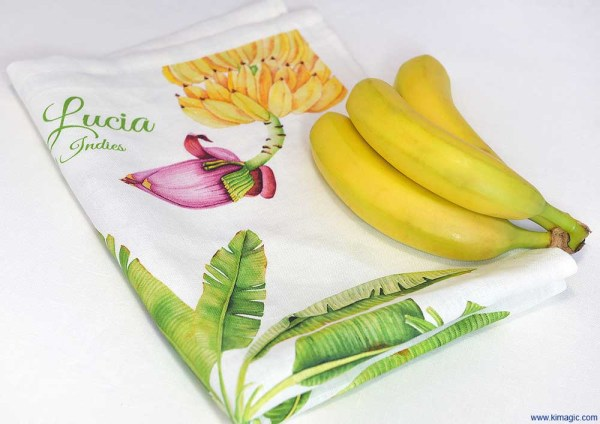 Luxury Linen Tea-towel St. Lucia Banana Tree fruit and flower