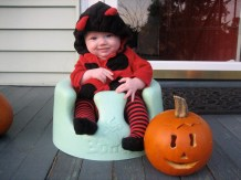 Audrey the ladybug with peanut pumpkin