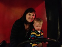 Jillian and Jamie in the fire engine