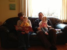 Ooma and Oompa read to Jamie and TK