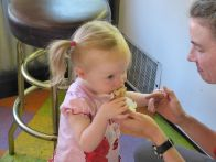 """Every time the ice cream was not in her mouth, she was asking for """"more please."""""""