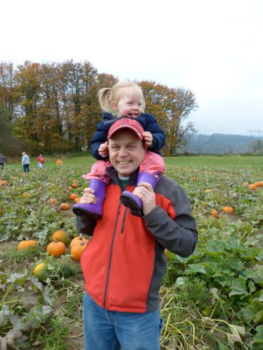 TK gets a good view of available pumpkins.
