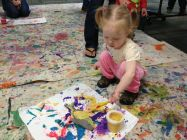 Theresa paints.