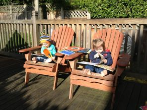 Read on the deck with sun on our toes.