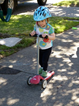 Riding the neighbors' scooter