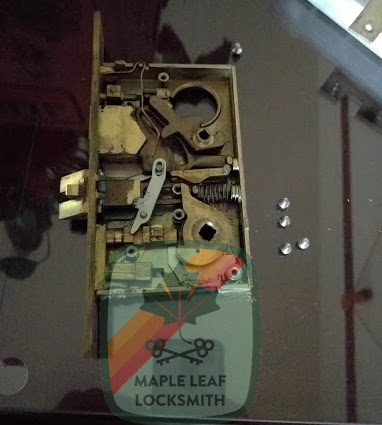 Here's a Baldwin mortise lock that I recently fixed. Usually these have broken springs.