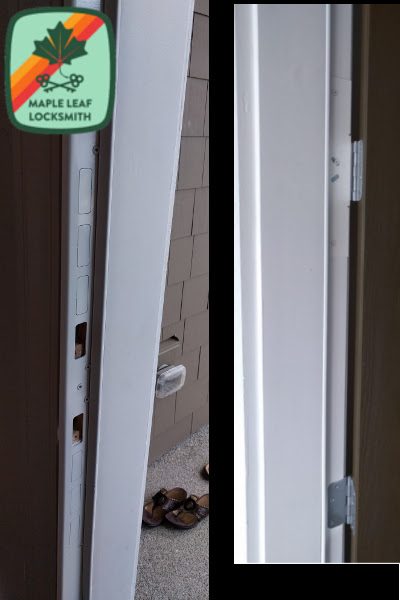 This is a security strike plate I installed recently. There are also hinge reinforcement plates shown on the right side.