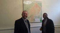 Ciaran Staunton (Fingal) and the Ambassador of Lesotho to Ireland, His Excellency Mr. Paramente Phamotse check out a relief map of Lesotho at the Lesotho Embassy in Ireland.