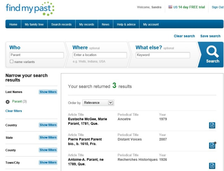 Search results on findmypast.com
