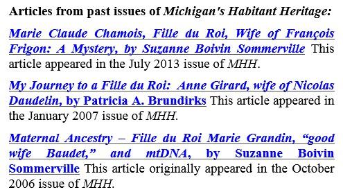 Michigan's Habitant Heritage articles