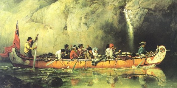 Picture: Canoe Manned by Voyageurs Passing a Waterfall