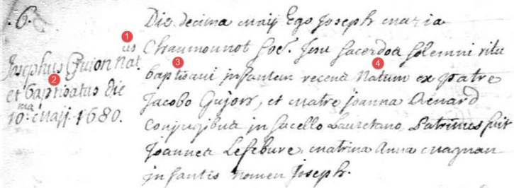 Joseph Guyon baptism record