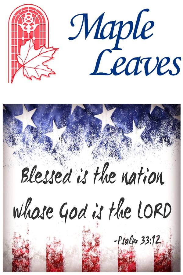Cover page for Maple UMC Newsletter - Maple Leaves July edition