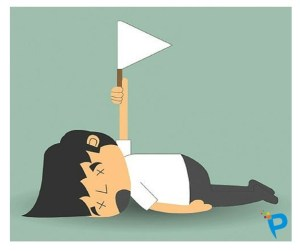 Cartoon of a man face down on the ground holding up a white flag of surrender