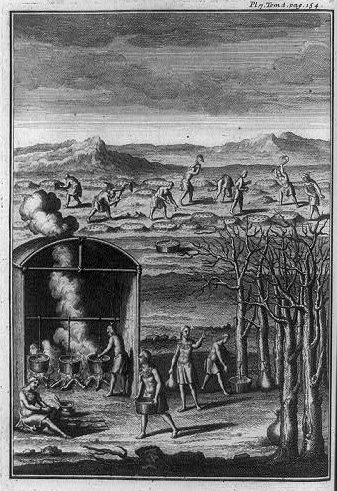 """""""Native Americans collecting sap and cooking maple syrup in pots, tilling soil into raised humps, and sowing seeds, North America""""; 1724; courtesy of Library of Congress"""